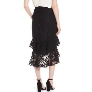 Chelsea28 Skirts - Chelsea28 Black Tiered Lace Midi Skirt